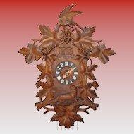 Excellent antique 2 bird cuckoo quail black forest clock