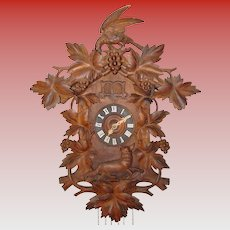 Excellent antique 2 bird cuckoo quail black forest clock