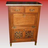 antique Quartered quarter sawn oak marble top barber's cabinet