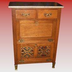 antique Quartered quarter sawn oak marble top barber's cabinet