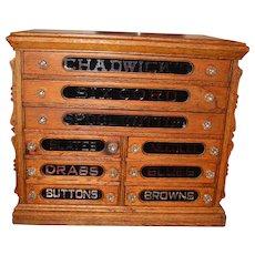 Fine antique 9 drawer Chadwick's spool thread cabinet