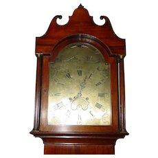 Rare 18th c English tall case grandfather clock w bird hawk automaton