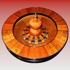 Neat antique German hand inlaid roulette wheel dated 1852