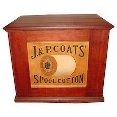 Mahogany 6 drawer J & P Coats spool thread cabinet w. embossed thread