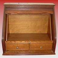 Unusual desk unit for tabletop or counter--quarter oak with tambour