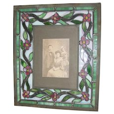Unusual stain glass Arts & Crafts picture frame