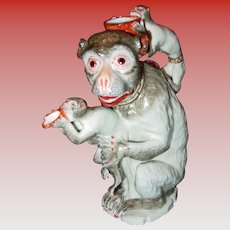 Antique Samson 19th century porcelain mother monkey and children