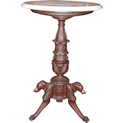 Carved antique marble top table pedestal with dog stretcher