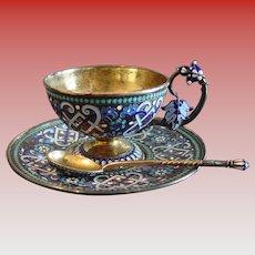 Enamel cup-saucer-spoon Russian Gustav Klingert Faberge---1890
