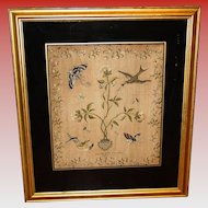 Antique 18th century silk embroidery sampler Mary Ann Thomas
