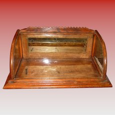 Neat antique oak counter top gum display case