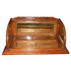 Neat antique oak counter top gum display case