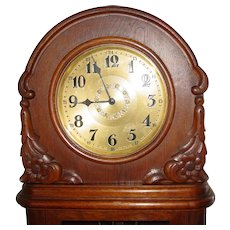 German oak tall case grandfather clock - circa 1920