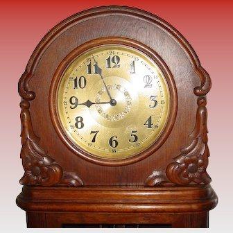 German oak tall case grandfather clock - circa 1920