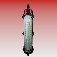 Rare Victorian carved oak & opaque glass barometer ---max-min