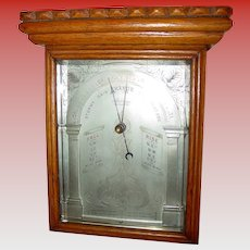 Very unusual oak cased aneroid wall barometer--19th century