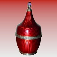 Beautiful Faberge Guilloche enamel perfume bottle