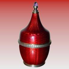 Beautiful Faberge Guilloche enamel perfume bottle
