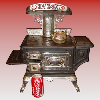 Salesman sample large cast & nickel BUCKS cook stove