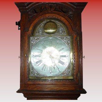 Carved oak tall case grandfather clock-Bastien Hans Mafait-dated 1769