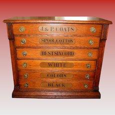 Unusual 6 drawer oak J & P Coats spool thread cabinet