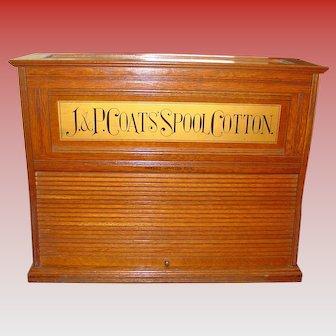 Rare J & P Coats oak spool thread cabinet