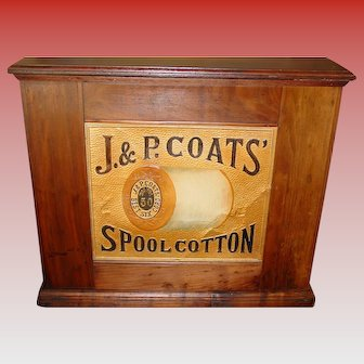 J & P Coats spool thread cabinet with embossed back