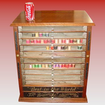 Brainerd & Armstrong spool thread cabinet w 12 drawers