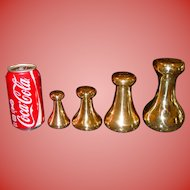 4 brass scale weights --7-4-2-1 pounds--AVERY