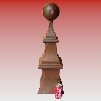 Early 20th century zinc architectural building finial---30 inch tall