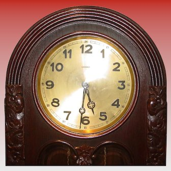 Tall case oak German antique grandfather clock-Lenzkirch