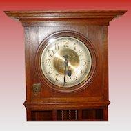 German oak tall case grandfather clock Gustav Becker Arts & Crafts