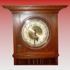 German oak tall case grandfather clock Gustav Becker Arts & Crafts