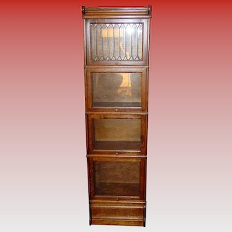 Half size quartered oak barrister bookcase leaded glass door---15504