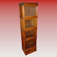 Rare Half size quartered oak barrister bookcase with leaded glass---15505