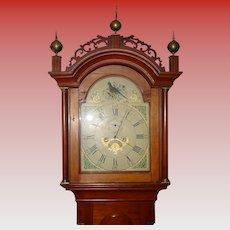 Antique 19th century cherry tall case clock-painted bird dial