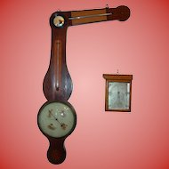 Rare 19th c Angle stick barometer with hand painted dial
