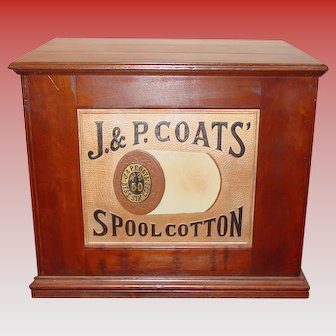 J & P Coats six drawer spool cabinet w thread spool back