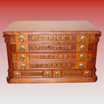 Merrick 6 drawer spool thread cabinet---4 over 2 drawers