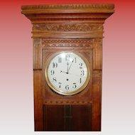 Neat carved oak large jeweler's wall or floor regulator clock