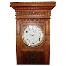 Neat carved oak large jeweler's wall or floor regulator clock