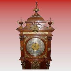 Fancy antique quarered oak Ansonia tall case grandfather clock