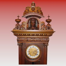 Beautiful antique German open well tall case grandfather clock-3 weight