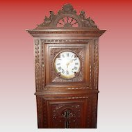 Fine Late 19th century  oak carved French tall case clock