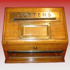 Neat antique quartered oak/brass letter deposit box