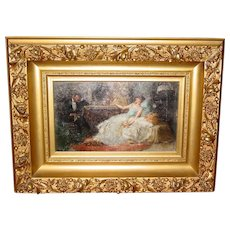 Antique Oil on board-Juan Pablo Salinas y Teruel--After the Ball