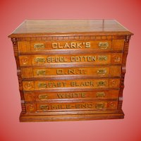 Clarks 6 drawer oak spool thread cabinet