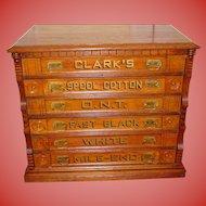 Clarks 6 drawer oak spool thread cabinet
