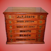 Unusual J & P Coats 6 drawer spool thread cabinet