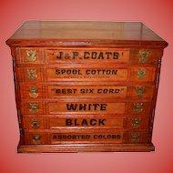 Unusual J & P Coats 6 drawer spool thread cabinet